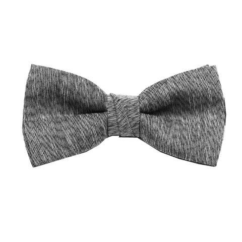 Grey & Black Linen Pre Tie Bow Tie & Pocket Square Set