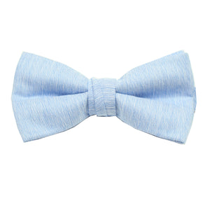 Light Blue Linen Pre Tie Bow Tie & Pocket Square Set