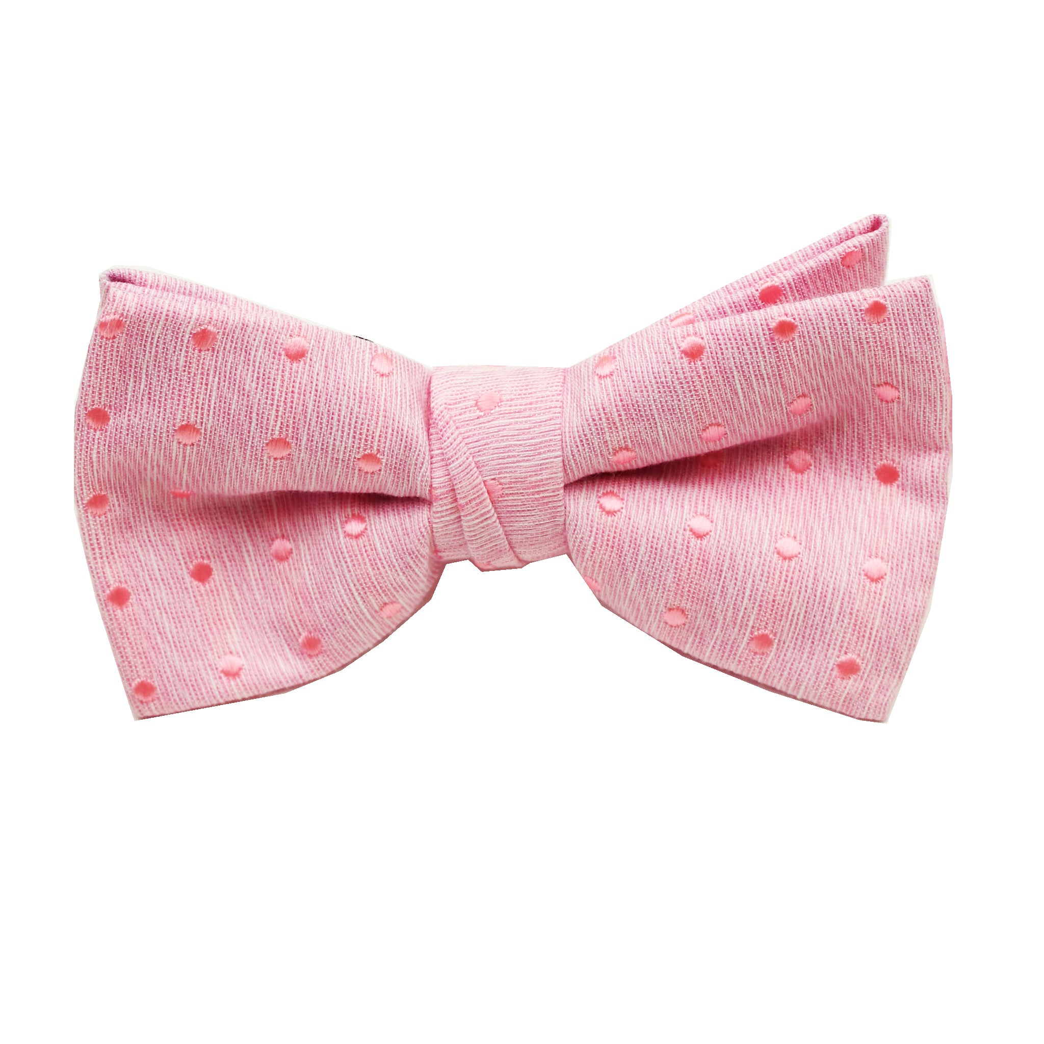 Pink & Pink Polkadot Pre Tie Bow Tie & Pocket Square Set
