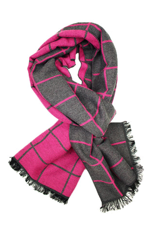 Bright Pink & Grey Window Pane Scarf