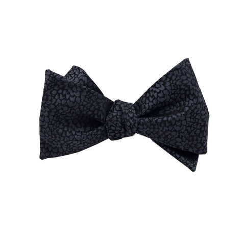 Black & Silver Floral Self Tie Bow Tie