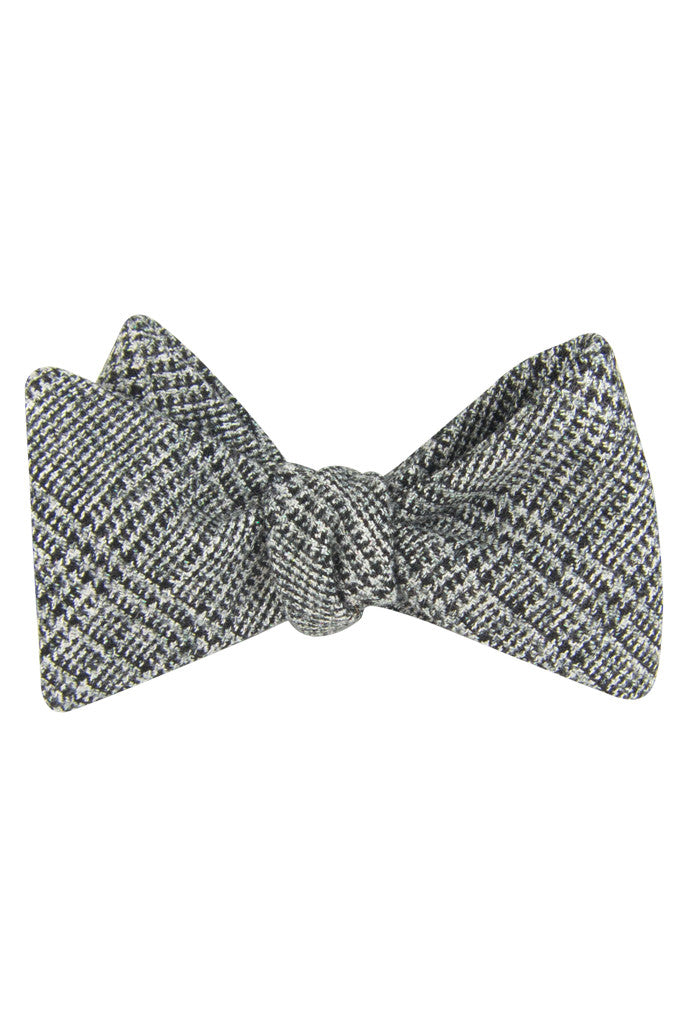 Black & White Glen Plaid Self Tie Bow tie
