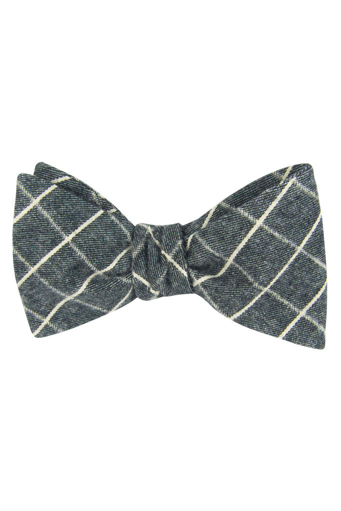 Muted Grey Plaid Self Tie Bow Tie