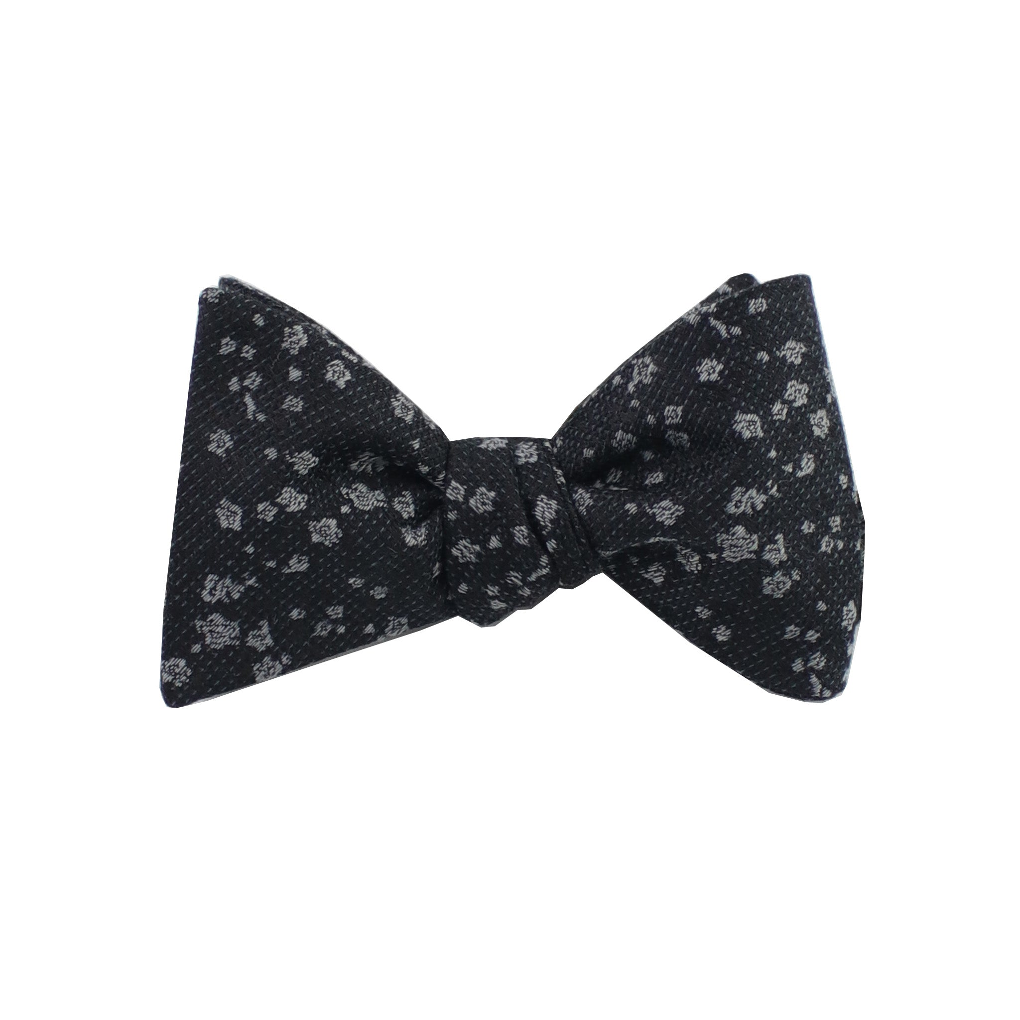 Black & Silver Floral Self Tie Bow Tie from DIBI