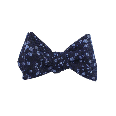 Navy & Light Blue Floral Self Tie Bow Tie