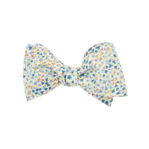 Multi Blue, Gold, & Green Floral Self Tie Bow Tie