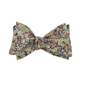 Earth Tone Multi Floral Self Tie Bow Tie