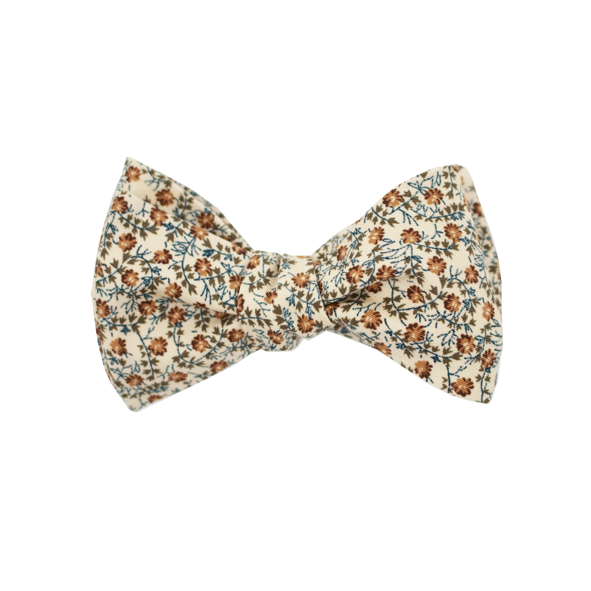 Beige & Brown Multi Floral Self Tie Bow Tie