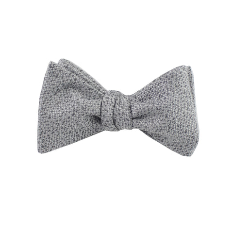 Silver & Charcoal Heather Self Tie Bow Tie