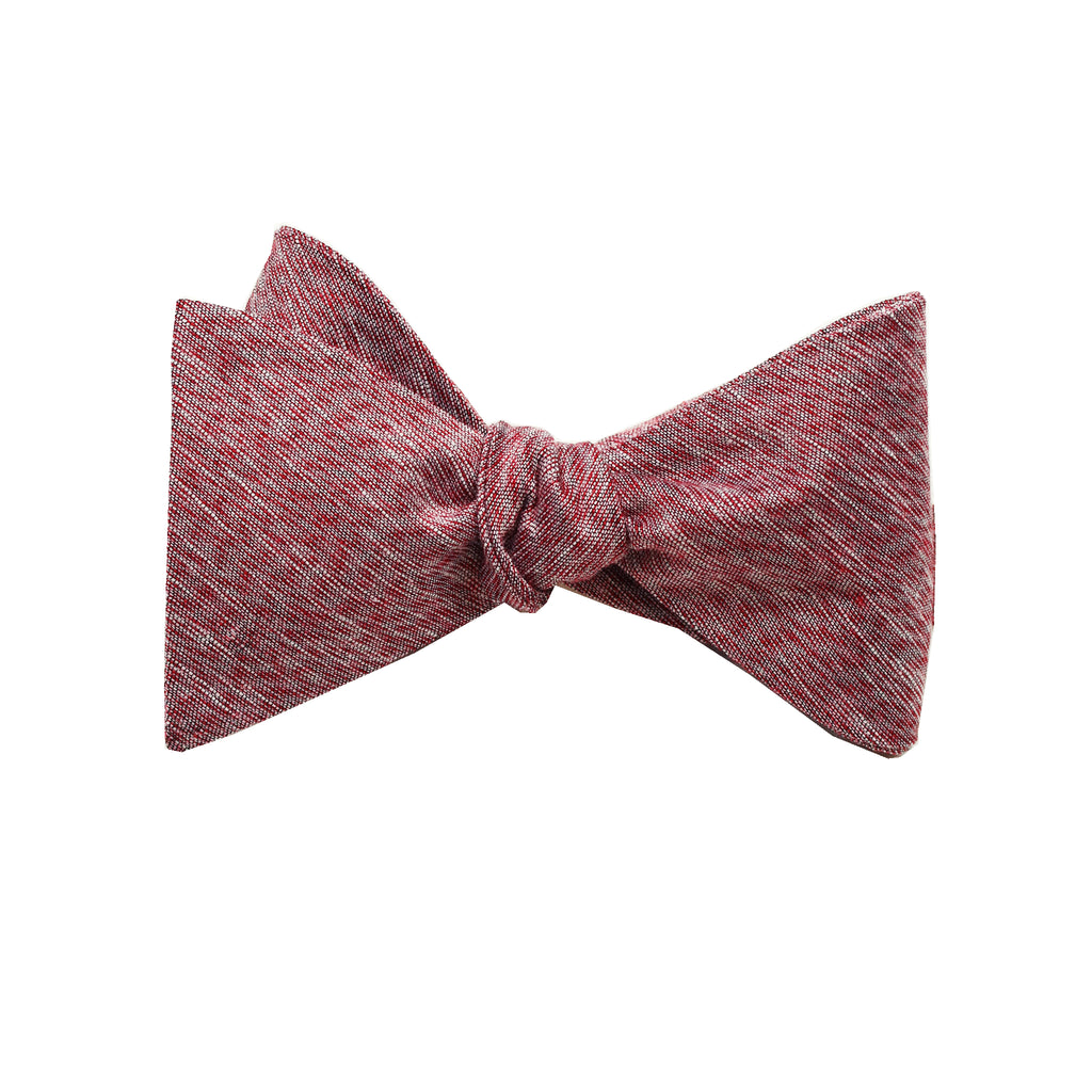 Burgundy & Grey Linen Self Tie Bow Tie