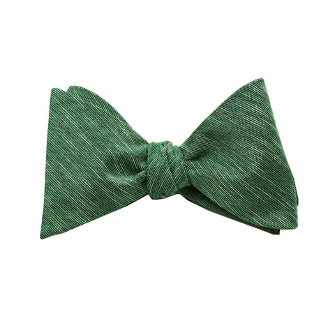 Green & Black Linen Self Tie Bow Tie