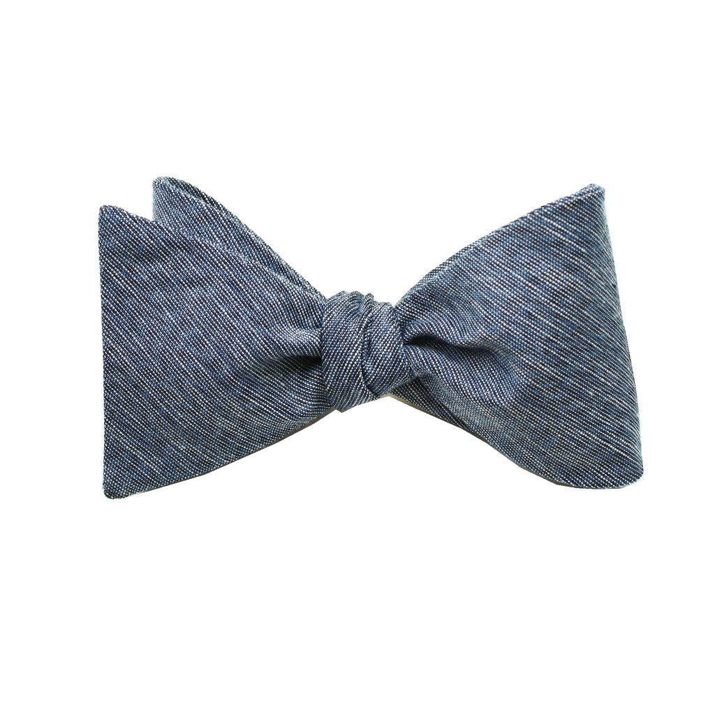 Navy & Black Linen Self Tie Bow Tie