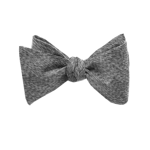 Grey & Black Linen Self Tie Bow Tie