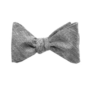 Grey Linen Self Tie Bow Tie