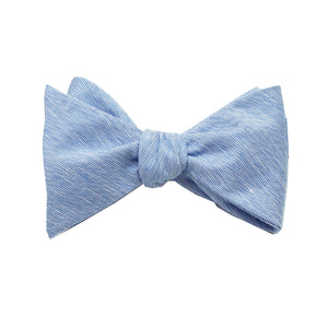 Light Blue Linen Self Tie Bow Tie