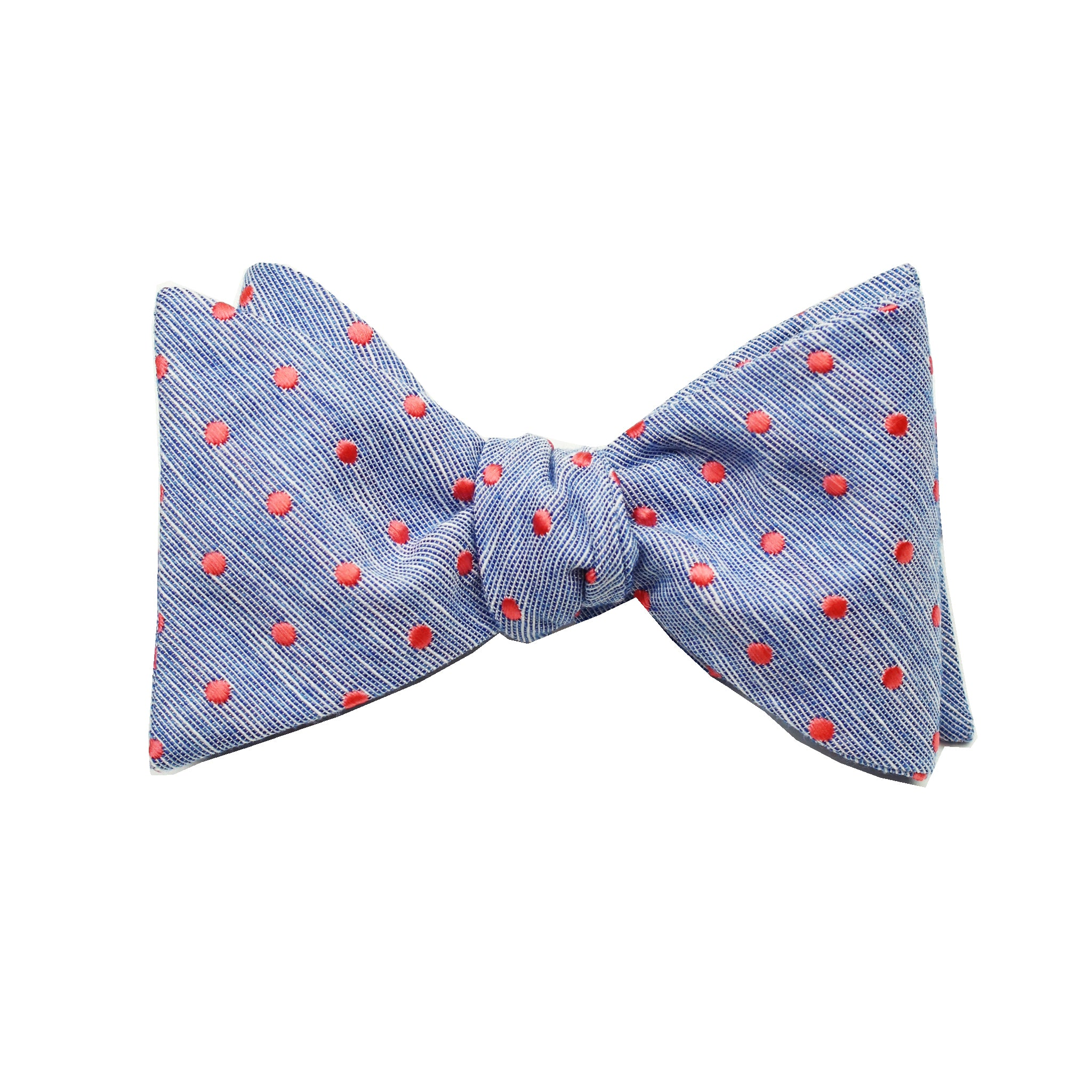Blue & Coral Polkadot Self Tie Bow Tie