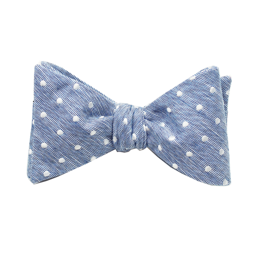 Blue & White Polkadot Self Tie Bow Tie