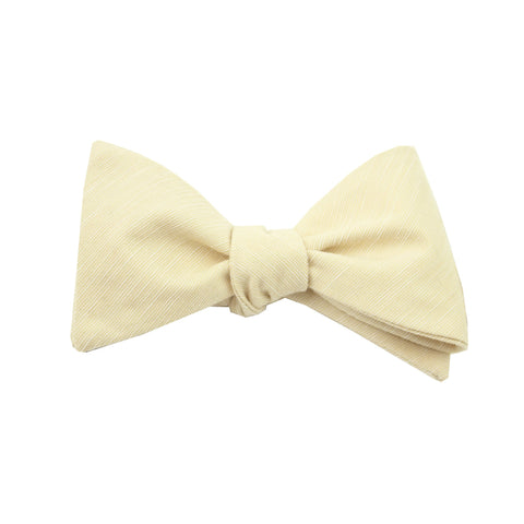 Khaki & White Linen Self Tie Bow Tie