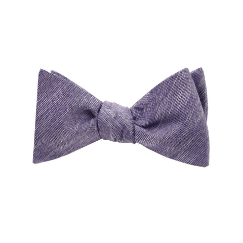 Purple & Black Linen Self Tie Bow Tie
