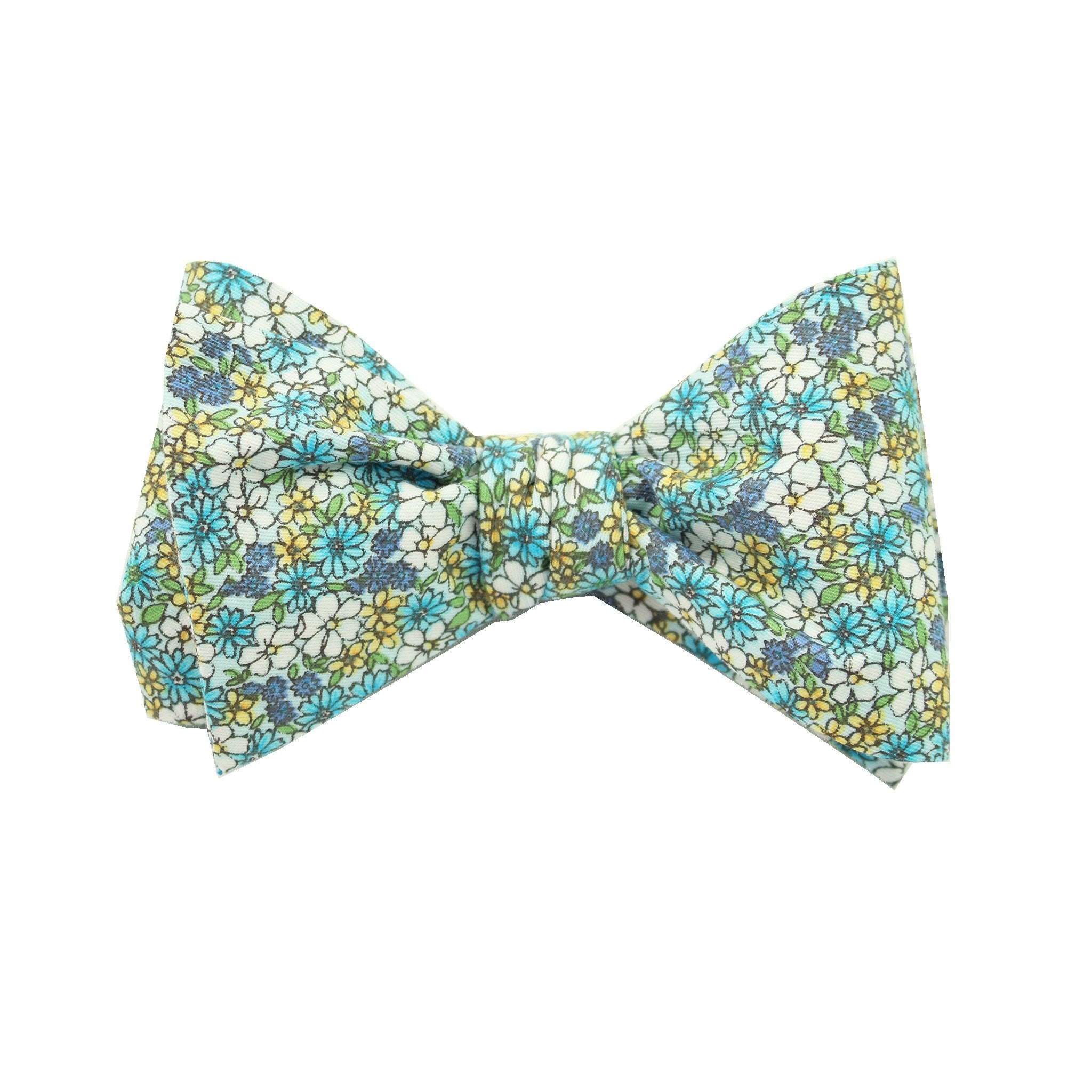 Blue Micro Floral Print Cotton Self Tie Bow Tie