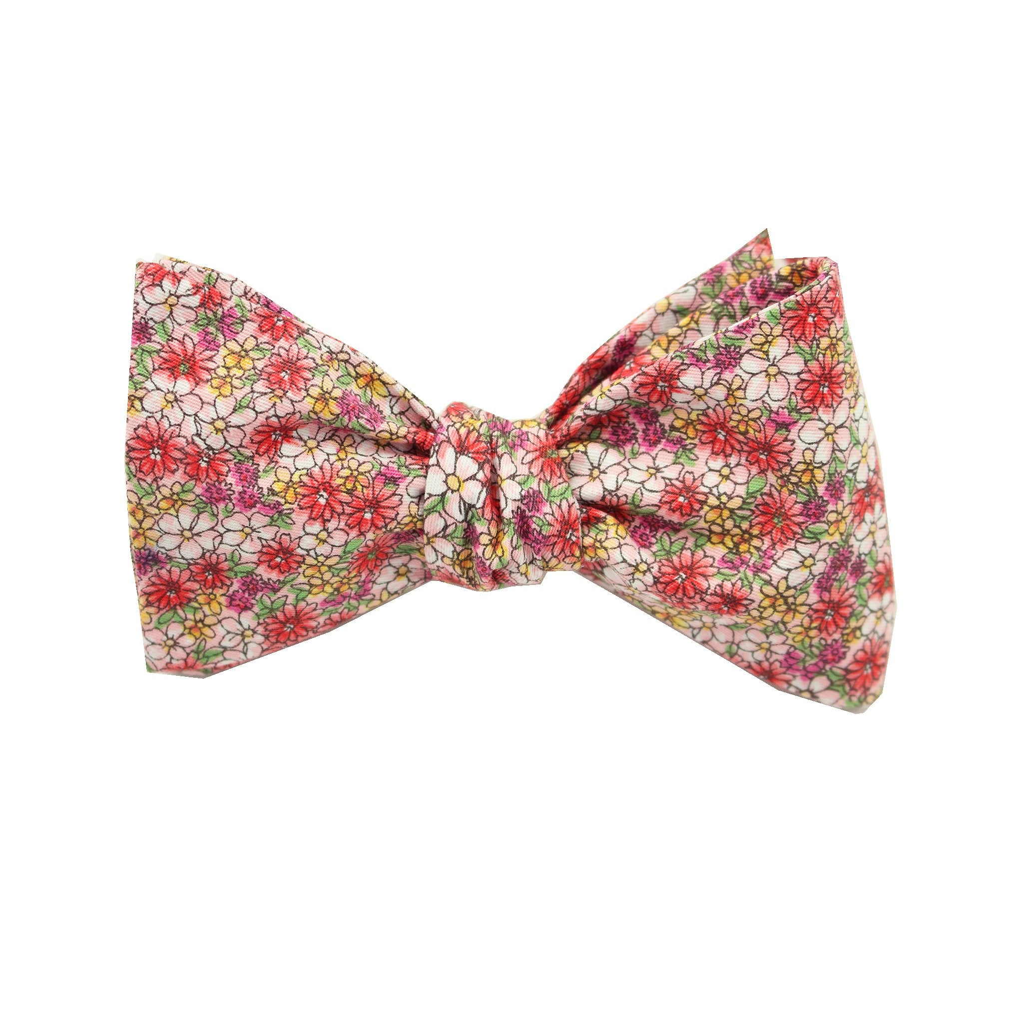 Pink Micro Floral Print Cotton Self Tie Bow Tie