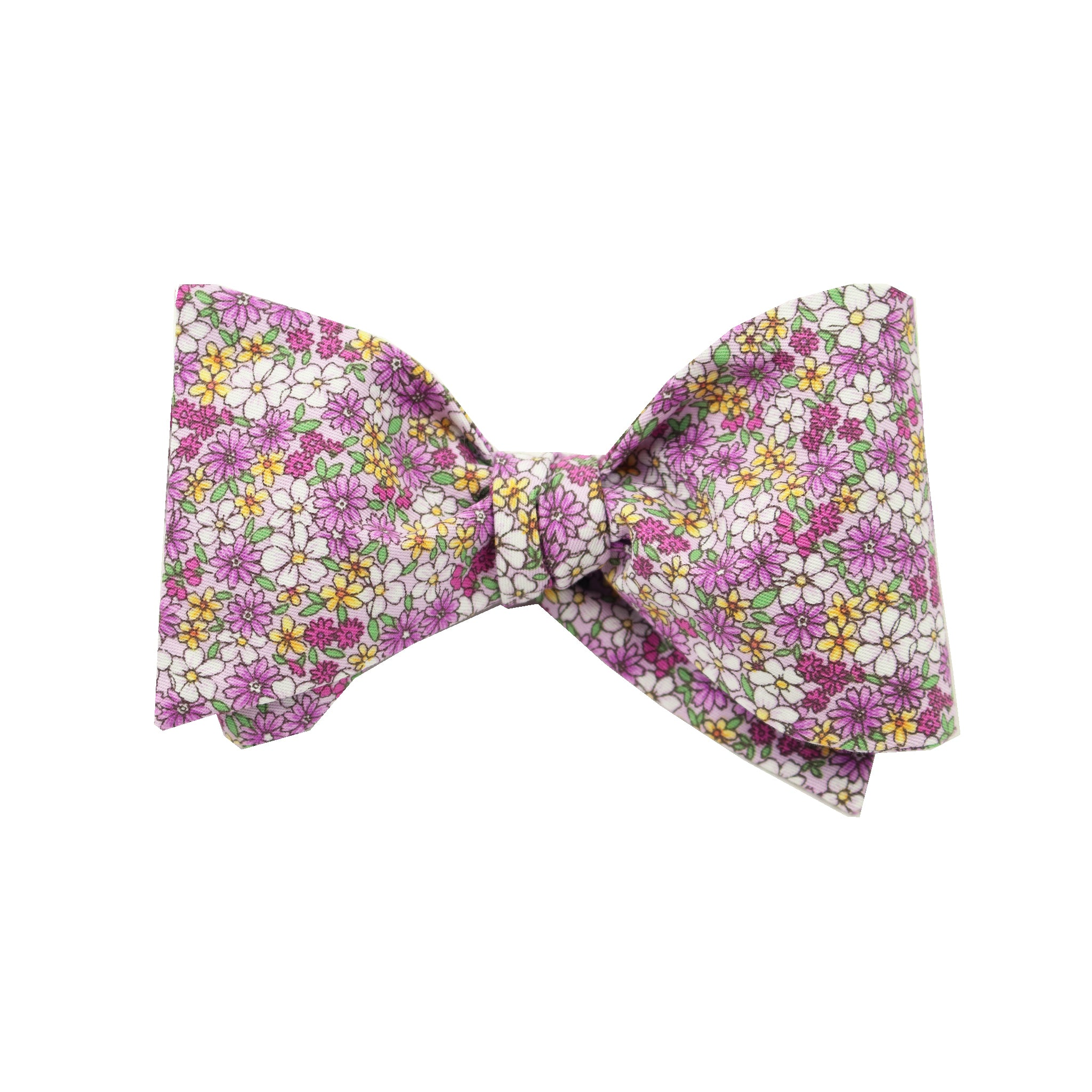 Purple Micro Floral Print Cotton Self Tie Bow Tie