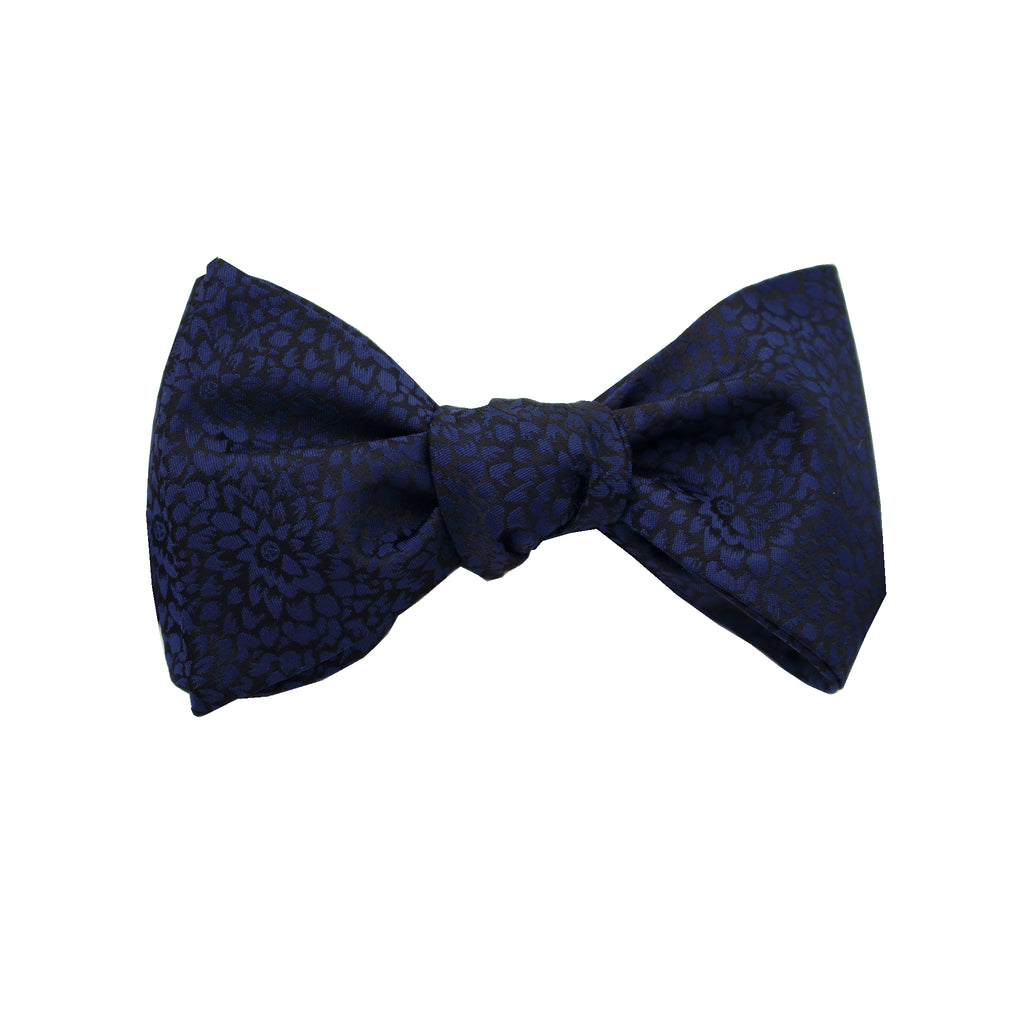 Navy & Black Floral Self Tie Bow Tie