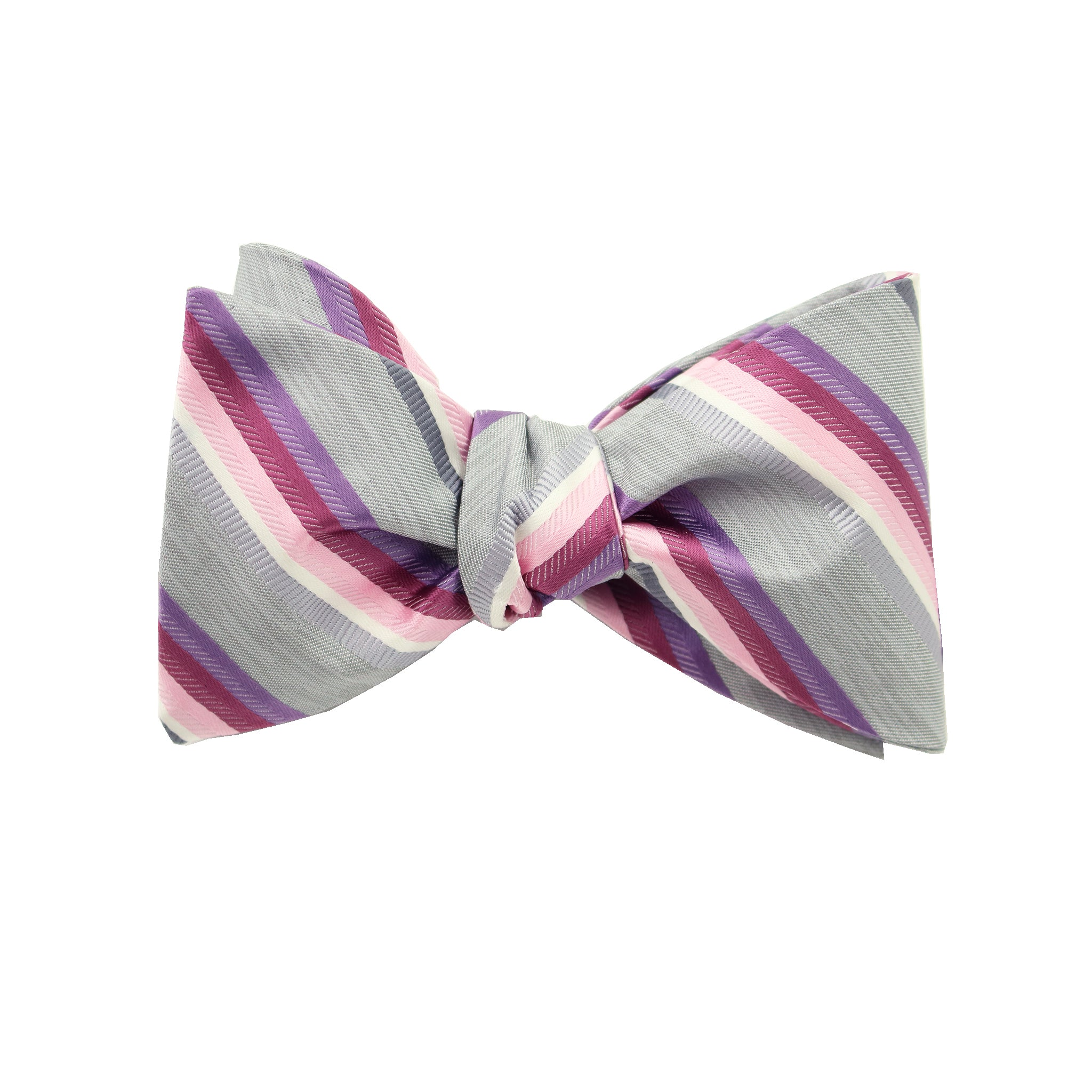 Pink & Purple Striped Self Tie Bow Tie