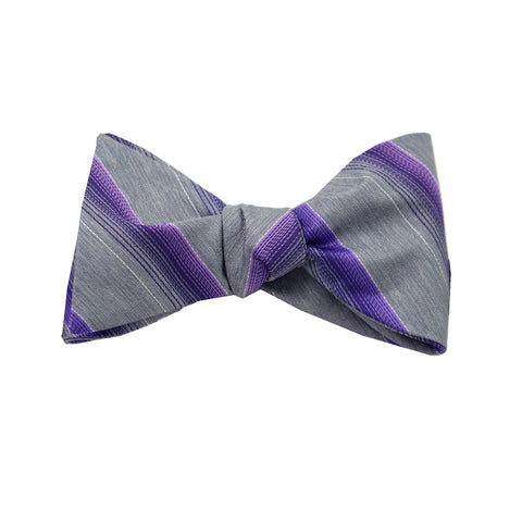Purple & Silver Striped Self Tie Bow Tie