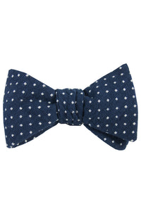 Navy & White Polkadot Self Tie Bow Tie