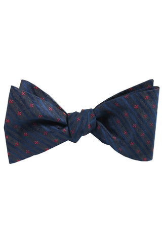 Navy & Red Star Self Tie Bow Tie