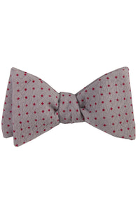 Grey & Red Polkadot Self Tie Bow Tie