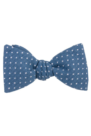Light Blue & White Polkadot Self Tie Bow Tie