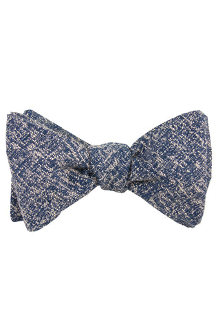 Dark Navy & White Heather Self Tie Bow Tie