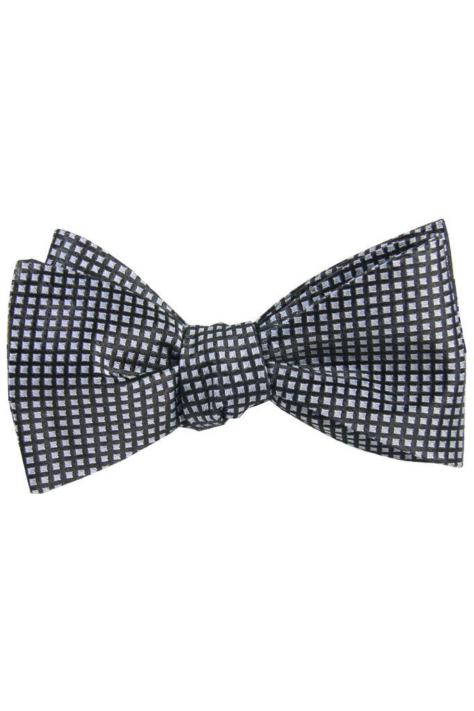 Black & Silver Diamond Self Tie Bow Tie
