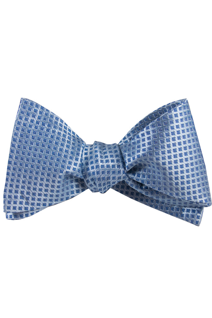 Blue & Silver Diamond Self Tie Bow Tie