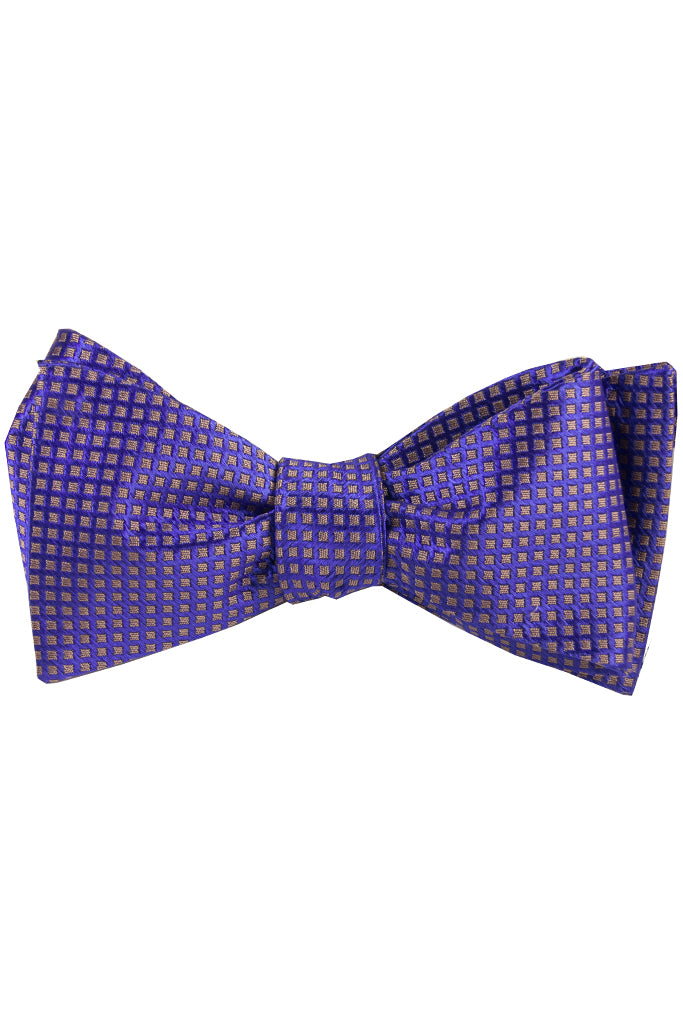 Purple & Champagne Diamond Self Tie Bow Tie