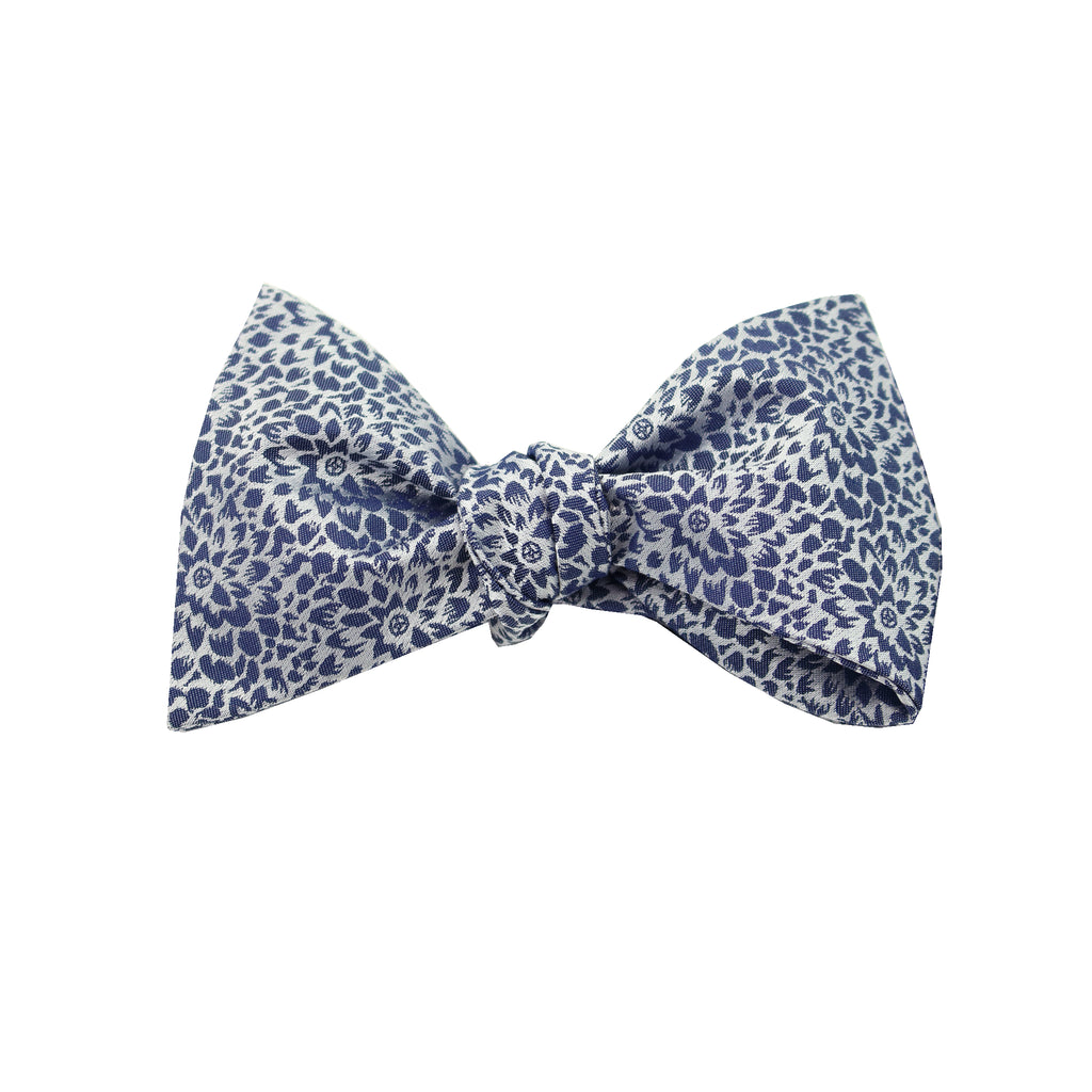 Steel Blue & Silver Floral Self Tie Bow Tie