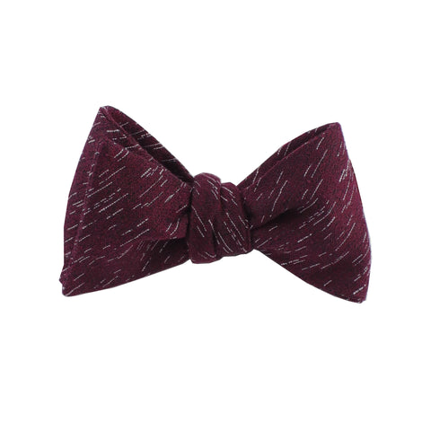 Burgundy Wool Textured Self Tie Bow Tie