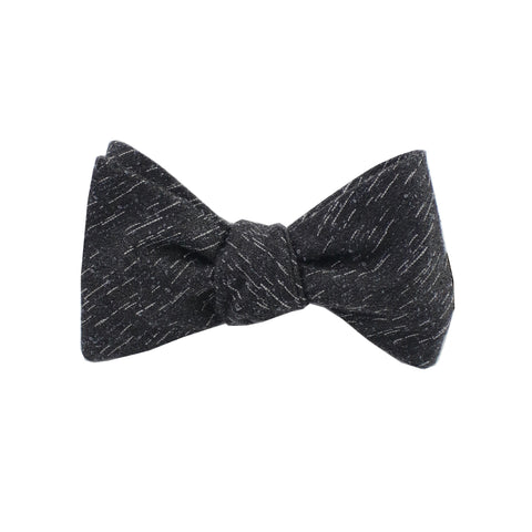 Charcoal Wool Textured Self Tie Bow Tie