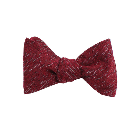 Red Wool Textured Self Tie Bow Tie
