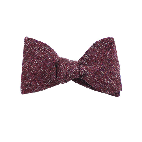 Burgundy Twill Self Tie Bow Tie