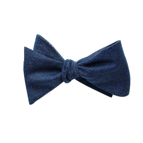 Dark Navy Textured Self Tie Bow Tie
