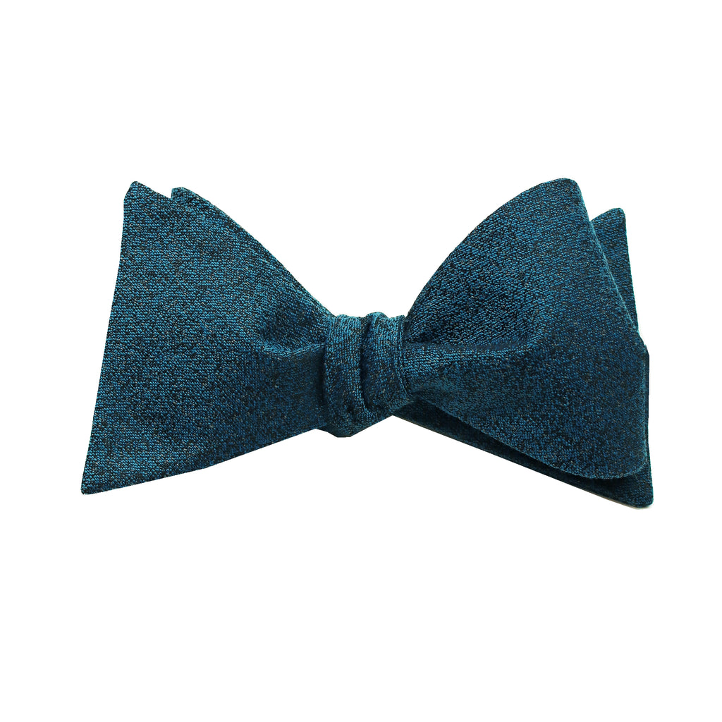 Aqua & Black Textured Self Tie Bow Tie