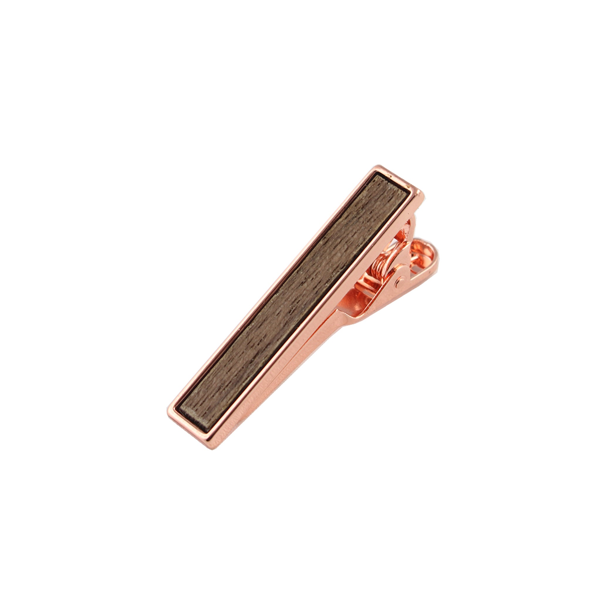 Walnut Wooden Inlay-Rose Gold Tie Bar from DIBI