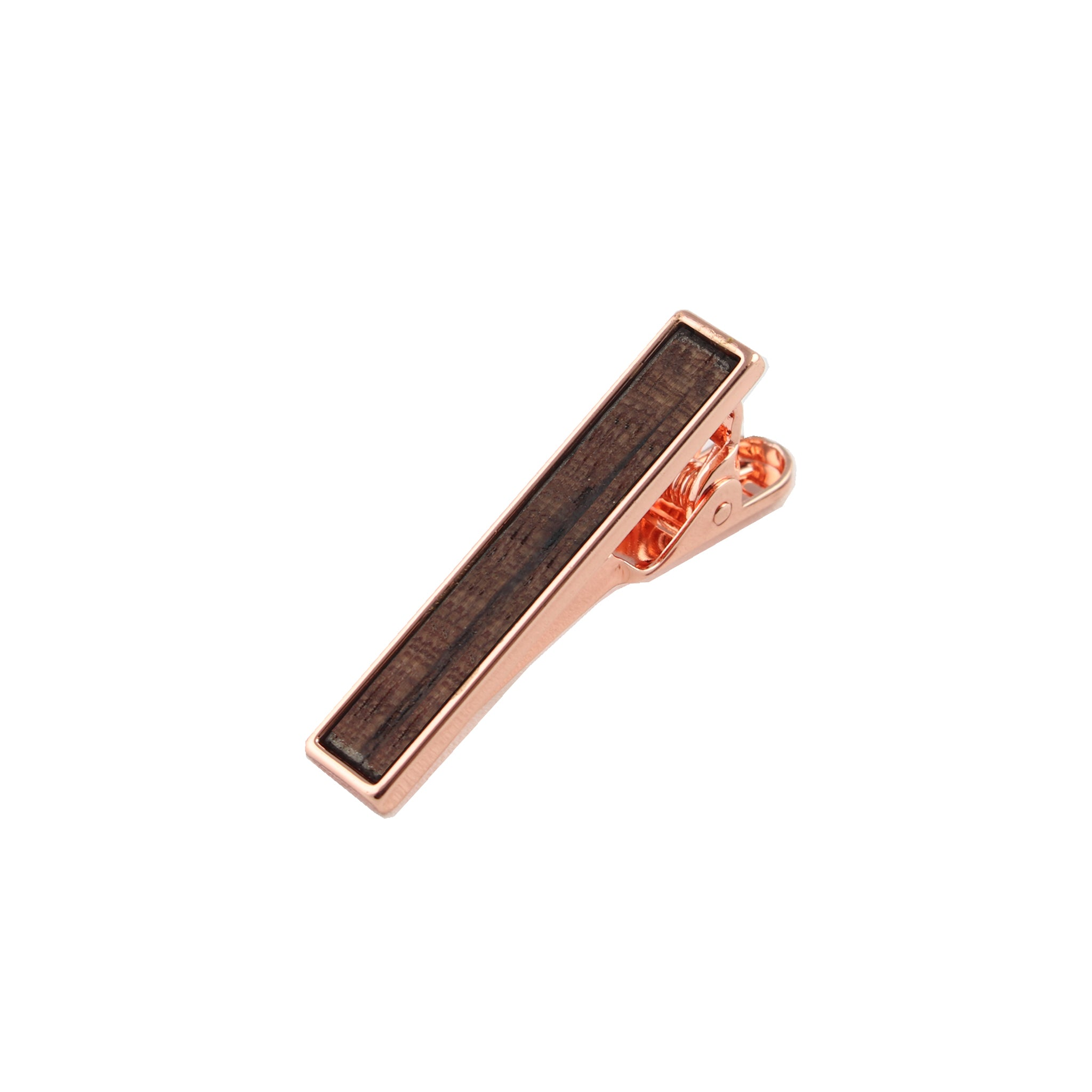 Zebra Wooden Inlay-Rose Gold Tie Bar from DIBI
