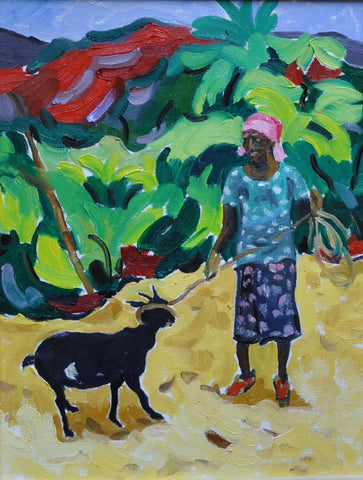 Lady with her goat - 11x14