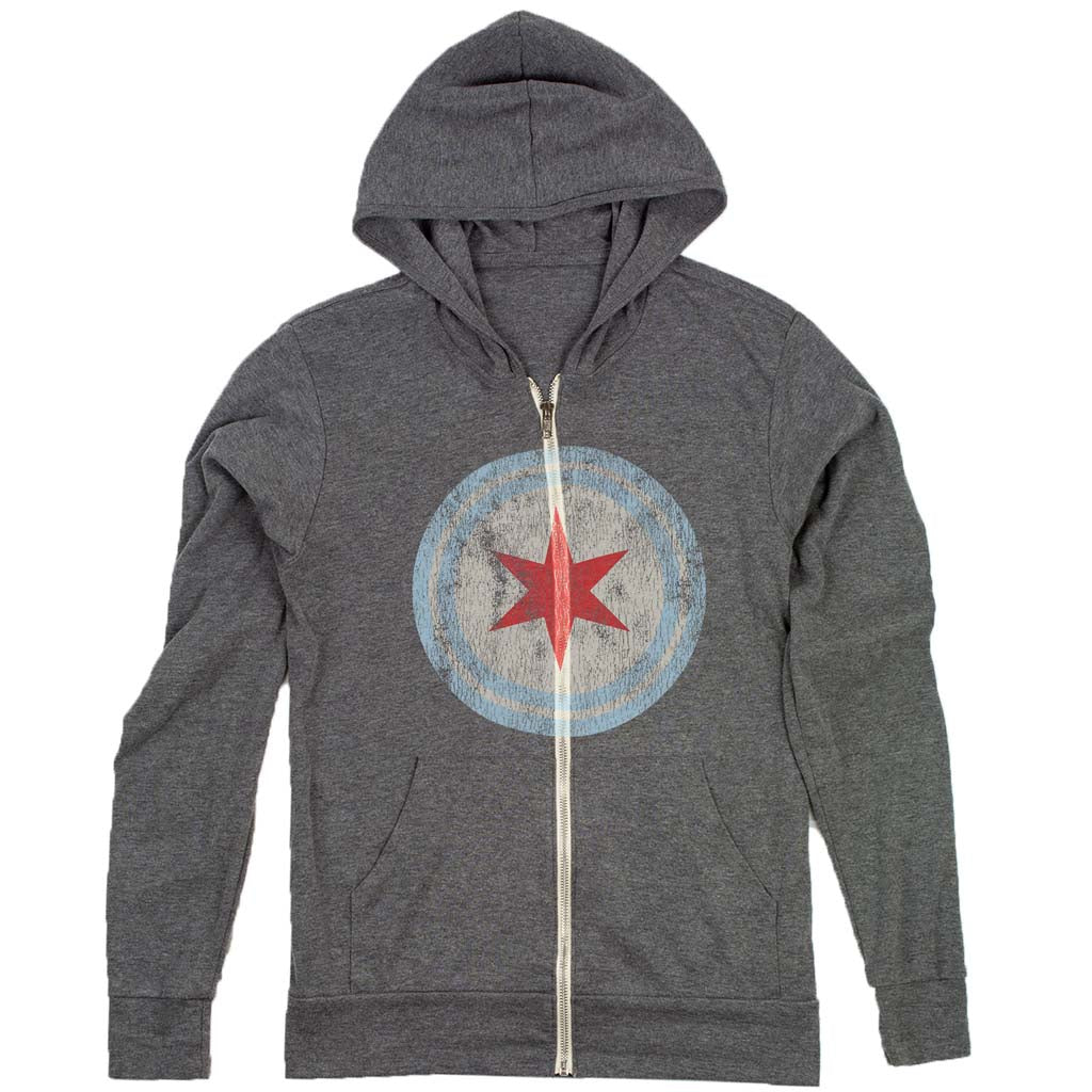 chicago flag red star roundel hoodie
