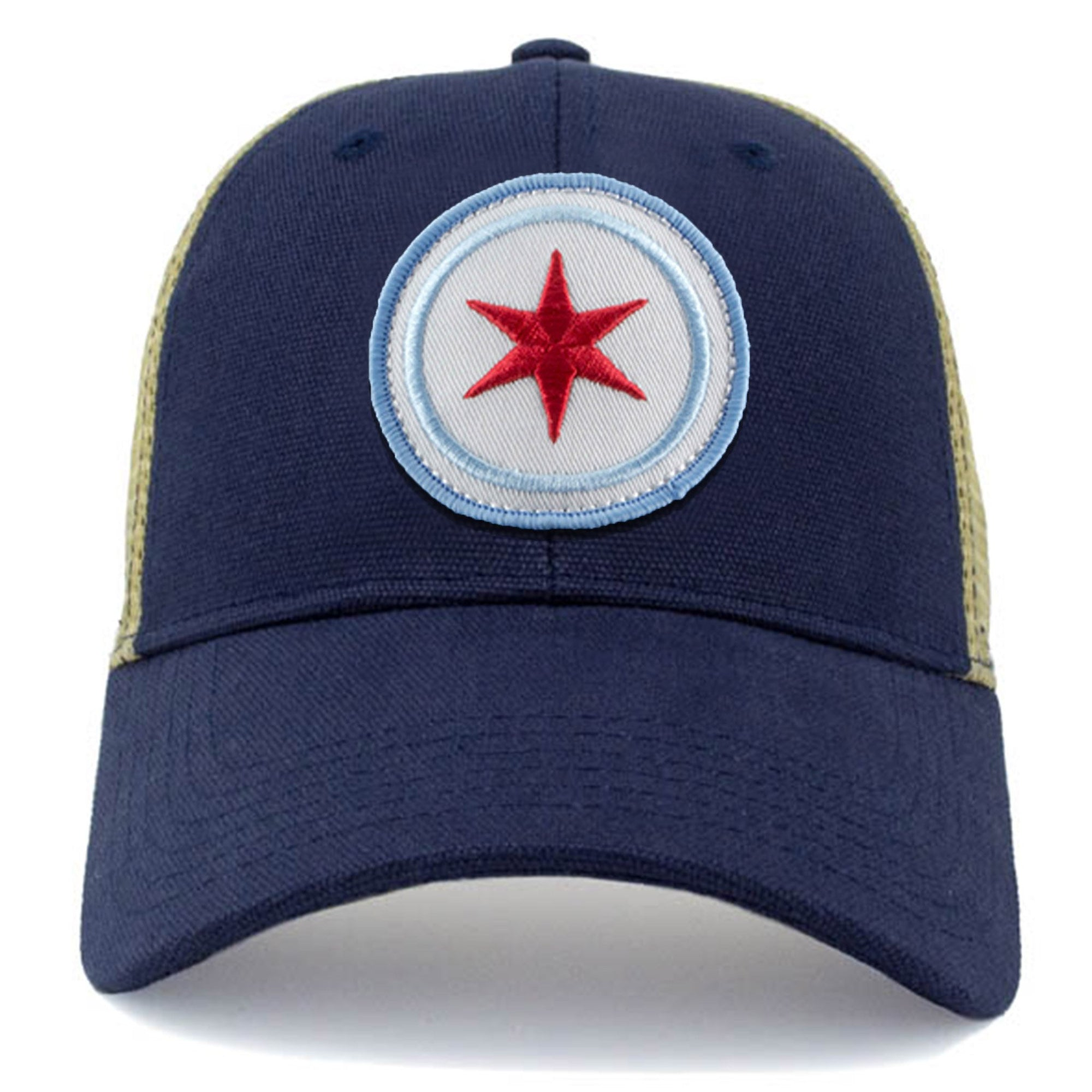 chicago vintage state flag cap with embroidered patch and classic mesh
