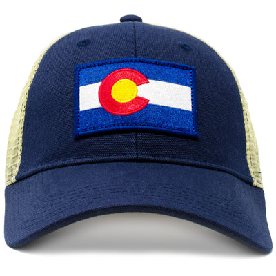 colorado vintage state flag cap with embroidered patch and classic mesh